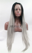 Heahair® Two Tone Silver Straight Synthetic Lace Front Wig