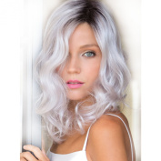 I's® Woman Fashion Synthetic Ombre Wavy Wig Black White Shoulder Length Cosplay Hair Heat Resistance