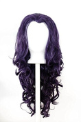 Aya - Eggplant Purple Wig 60cm Curly Layered Cut with Widow's Peak and no bangs