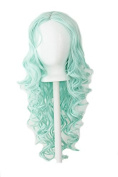 Naomi - Mint Green 70cm Centre Parted Wig with Long Layered Curls and No Bangs