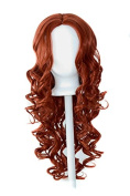 Naomi - Maple Brown 70cm Centre Parted Wig with Long Layered Curls and No Bangs