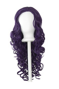 Naomi - Eggplant Purple 70cm Centre Parted Wig with Long Layered Curls and No Bangs