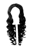 Naomi - Pitch Black 70cm Centre Parted Wig with Long Layered Curls and No Bangs
