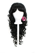 Bella - Pitch Black Wig 70cm Curly Layered Cut with Teased Bump and Short Bang - style designed by Tasty Peach Studios