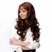 I's® Femail Synthetic Long Wavy Hair Wigs with Bangs Brown 70cm Heat Resistance Fibre 250g