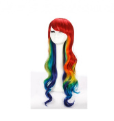 Longlove Red, Yellow, Blue Colour Blending Wig Wig Long Curly Hair Wig Performances Wig Personality