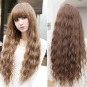 Wigsforyou®fashion Womens Lady Long Curly Wavy Hair Full Wigs Cosplay Party Heat Resistant Light Brown for Free