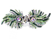 Mask Hair Barrette Clip Pony Holder Austrian Rhinestone Crystal B1180-peridot