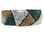 Colour Block Hair Barrette Clip Pony Holder Austrian Rhinestone Crystal B1178-green