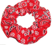 Red Butterflies Bandana Print Cotton Fabric Hair Scrunchie Handmade by Scrunchies by Sherry