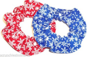 Winter Snowflake Red Blue Hair Scrunchie Fabric Scrunchies by Sherry Ponytail Holders Set of 2