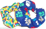 Dog Paw Print Bones Hair Scrunchies Set of 2 Ponytail Holders Rainbow Blue handmade by Scrunchies by Sherry