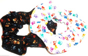 Dog Paw Print Hair Scrunchies Set of 2 Ponytail Holders Rainbow Brown handmade by Scrunchies by Sherry