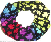 Rainbow Shamrocks St Patricks Day Cotton Fabric Hair Scrunchie Handmade by Scrunchies by Sherry