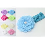 Pixnor 10 Colours Baby Girls Peony Flower Elastic Crochet Hairbands Headband Headwear