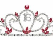 Birthday Party Rhinestone Crystal Tiara Crown - Sweet 16th Sixteenth Pink T1189