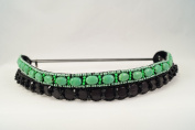 "Pink Pewter Authentic ""Hazel"" Black/Green Beaded Double Stretch Band Headband Hair Jewellery"