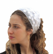 Sara Attali Design Head Scarf Tichel Half Hair Covering Flowers Headband One Size Snow White
