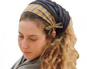 Sara Attali Design Tichel Chemo Half Hair Covering Ruffle Bandana One Size Grey Mustard