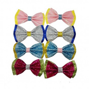 Hit Colour Small Glitter Bow Alligator Clips Bright Hairpins