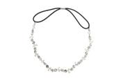 Fashion Women Rhinestone Crystal Flower Hair Band-silver Colur