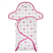 Just Born 100% Cotton Deluxe Swaddle, Pink/White
