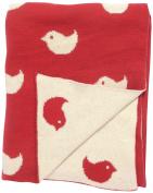 DARZZI Hello Birdie Baby Blanket, Red, 90cm x 110cm