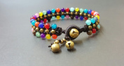 Handmade Bracelet Triple Layer Colourful Stone Bracelet