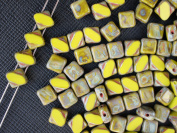 24pcs Silky Cut Beads, 2 Diagonal Holes , Czech Glass, Square 6x6mm, Opaque Green Travertine Dark