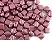 30pcs Silky Beads, Two Diagonal Holes , Czech Pressed Glass,Pastel, Square 6x6mm,Pastel Burgundy