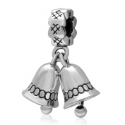 "Hoobeads .925 Sterling Silver Dangling ""Jingle Bell"" Charms Fits Pandora Bracelet"