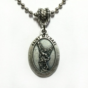 Saint Michael Archangel Protection Medal Pendant Necklace with Chain Made in Italy