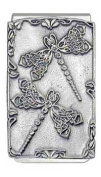 """Celtic Double Dragonflies"" Pewter Panel Silver Tone Money Clip"