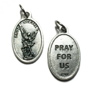 Saint Michael Archangel Protection Medal Pendant Charm Silver Tone Made in Italy
