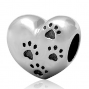"SoulBeads 925 Sterling Silver Puppy Dog Paw Print""My Sweet Pet "" Heart Charms Bead For European Bracelet"
