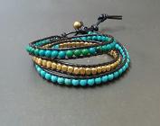 Handmade Wrap Bracelet Turquoise Cube Chrysocolla Black Leather Triple Wrap Bracelet Anklet