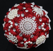High Quality Romantic Diamond Rose Artificial Wedding Bouquet of Flower, Western Style Wedding Bride Holding Flower red
