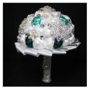 High Quality Romantic Diamond Rose Artificial Wedding Bouquet of Flower, Western Style Wedding Bride Holding Flower green white