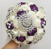 High Quality Romantic Diamond Rose Artificial Wedding Bouquet of Flower, Western Style Wedding Bride Holding Flower purple ivory new