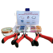 DIY Jewellery MakingJewelry Making Kit For Beginners with 6 jewellery tutorials covering Wire Jewellery, Stringing, Beading techniques Comes with pliers