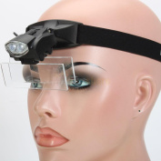 New 2 LED Headset Headband Magnifier 5 Lens Glass Magnification Magnifying