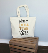 Just a Small Town Girl Gold Xl Tote in Natural Colour