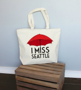 I Miss Seattle Red Xl Tote in Natural Colour