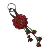 Bella Pazzo Red Handmade Sunflower Flower Leather Keychain Key Ring Clasp Bag Charm Hanndbag Purse charm Car Key Pendant