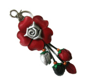 Bella Pazzo Red Handmade Rose Flower Leather Keychain Key Ring Clasp Bag Charm Hanndbag Purse charm Car Key Pendant