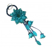 Bella Pazzo Blue Handmade Dahlia Flower Leather Keychain Key Ring Clasp Bag Charm Hanndbag Purse charm Car Key Pendant