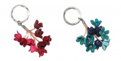 Pack of 2 Bella Pazzo Handmade Blue bell Flower Leather Keychain Backpack Animal Key Ring Clasp Bag Charm Hanndbag Purse charm