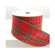 Wired Red and Green Plaid Dagmar Christmas Ribbon 6.4cm 10 yards