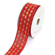 LUV RIBBONS by Creative Ideas, Canvas 3.8cm Glitter Dots Ribbon, 10 Yards, Red