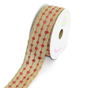 LUV RIBBONS by Creative Ideas, Canvas 3.8cm Glitter Dots Ribbon, 10 Yards, Toffee